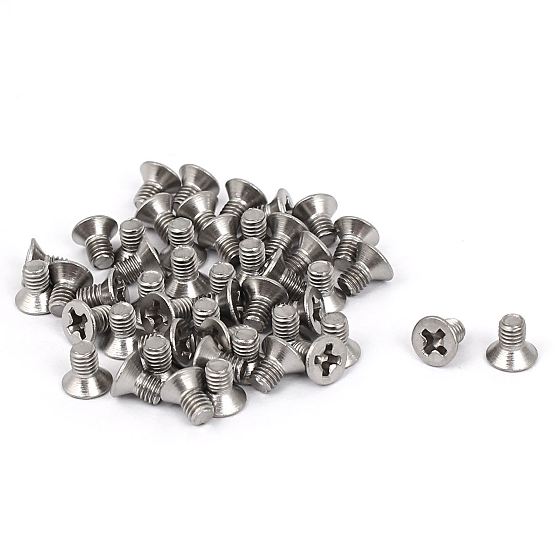 M3x5mm Phillips Flat Countersunk Head Machine Screws Silver Tone 50pcs