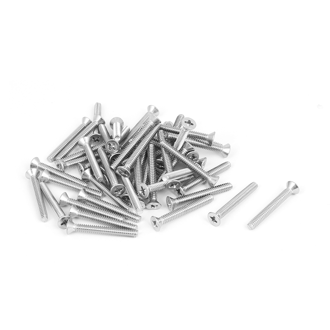"6#-32x1-1/8"" 304 Stainless Steel Phillips Flat Countersunk Head Screws 50pcs"