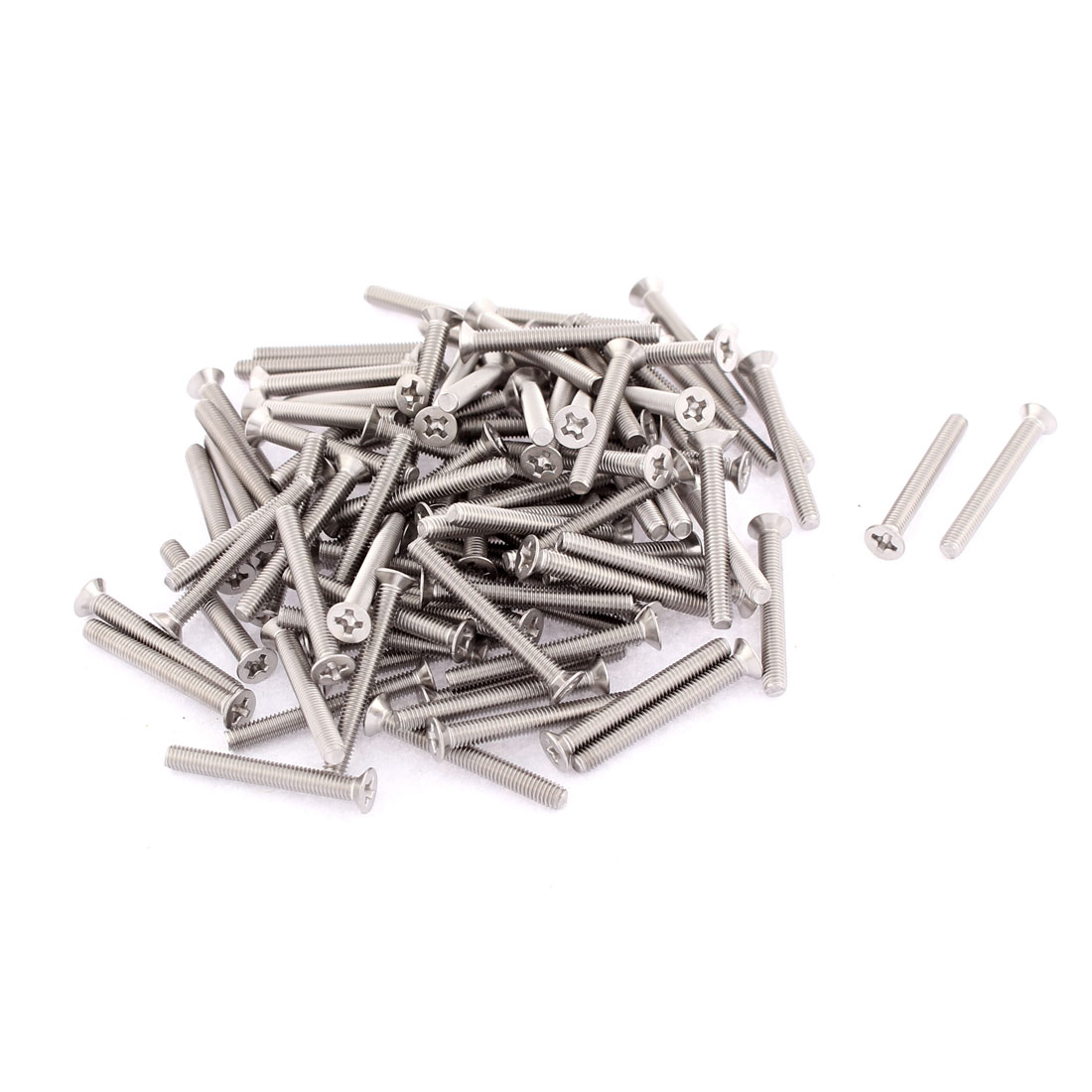 M3 x 25mm Phillips Head Stainless Steel Countersunk Bolts Machine Screws 100pcs