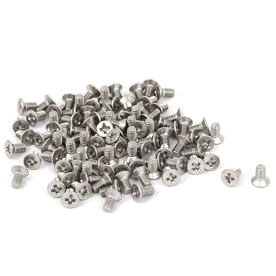 M2.5x5mm Stainless Steel Phillips Flat Countersunk Head Screws 100pcs