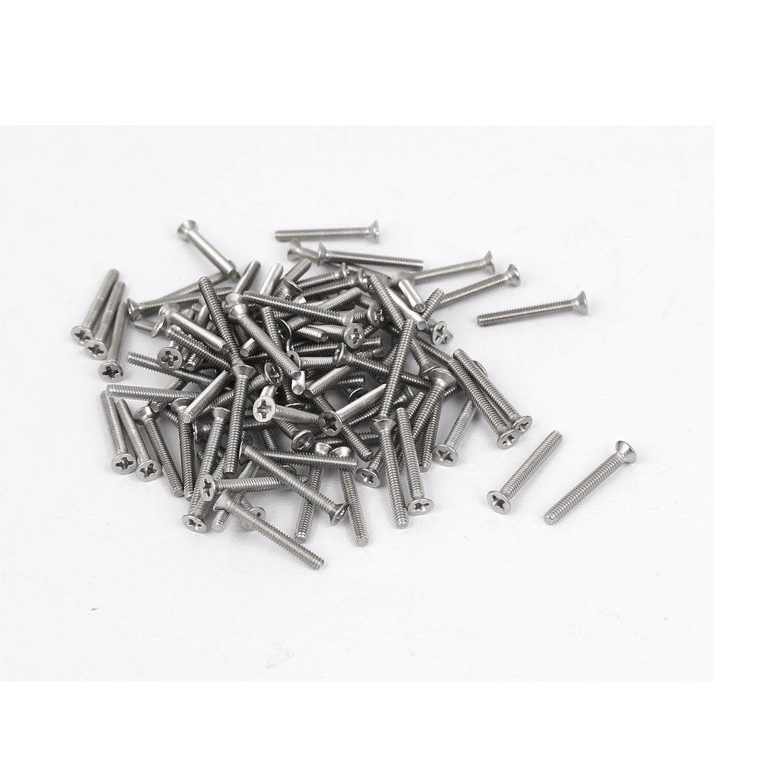 M2x16mm 304 Stainless Steel Phillips Flat Countersunk Head Machine Screws 100pcs