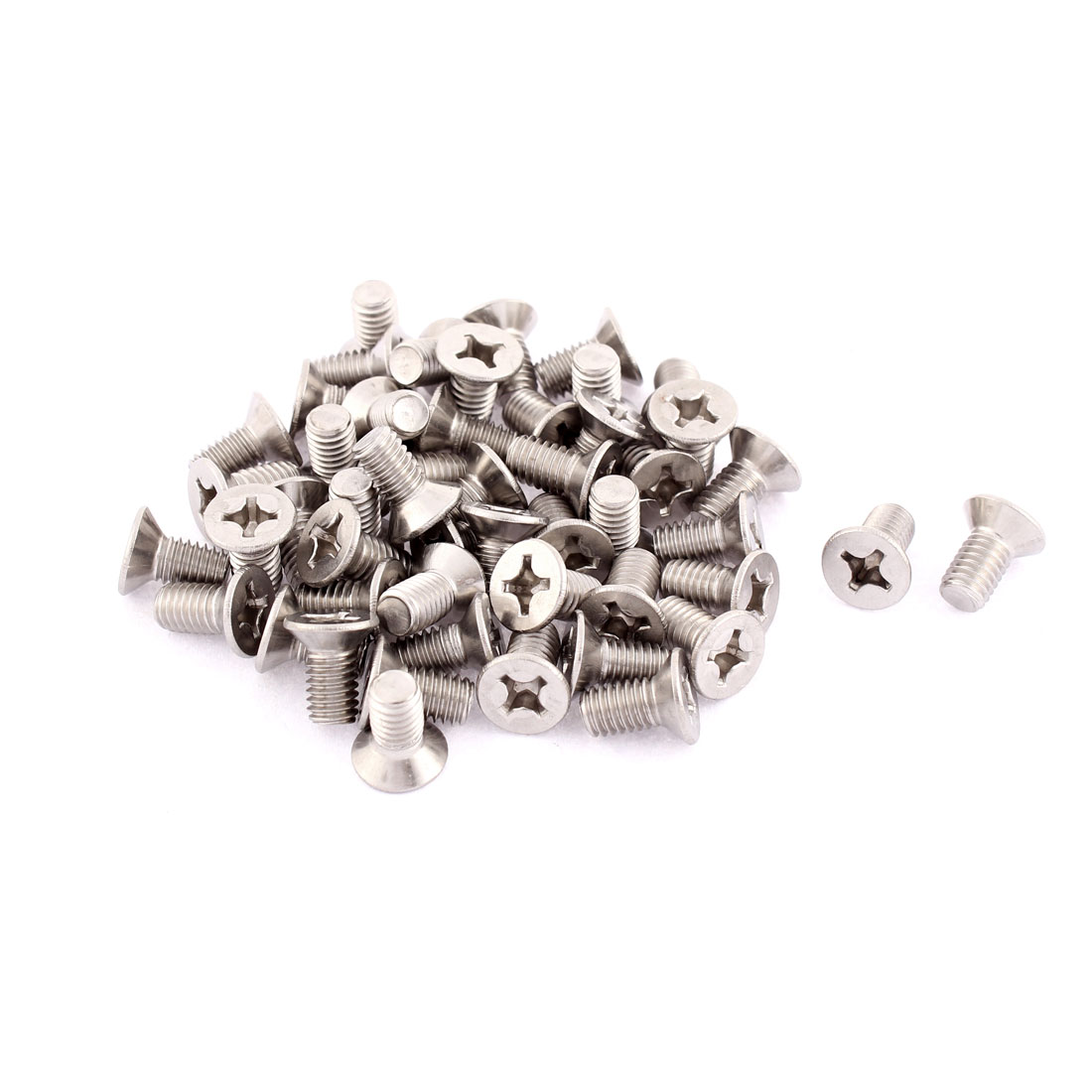 M6 x 12mm Phillips Head Stainless Steel Countersunk Bolts Machine Screws 50pcs