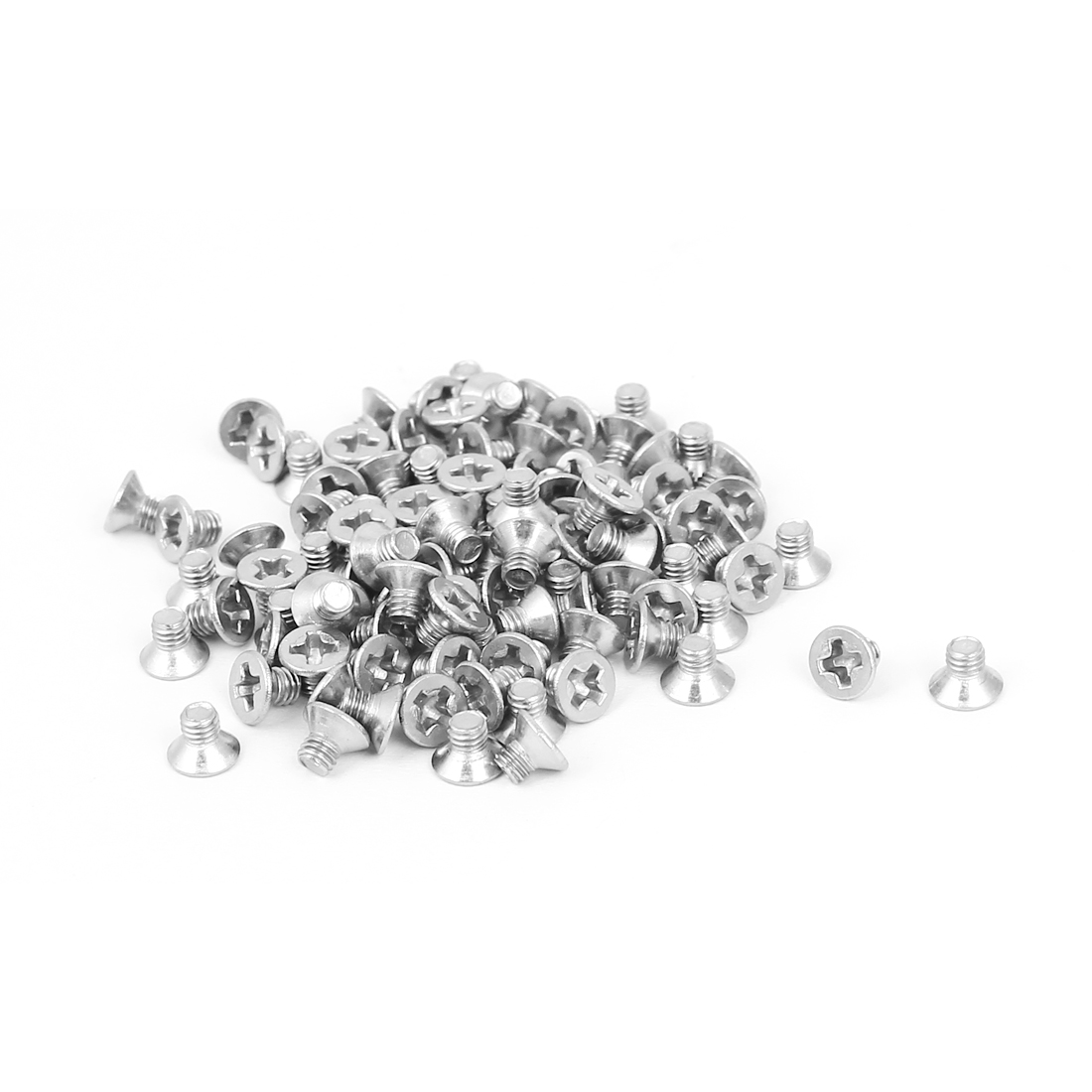 M3x4mm Phillips Flat Countersunk Head Machine Screws Silver Tone 100pcs