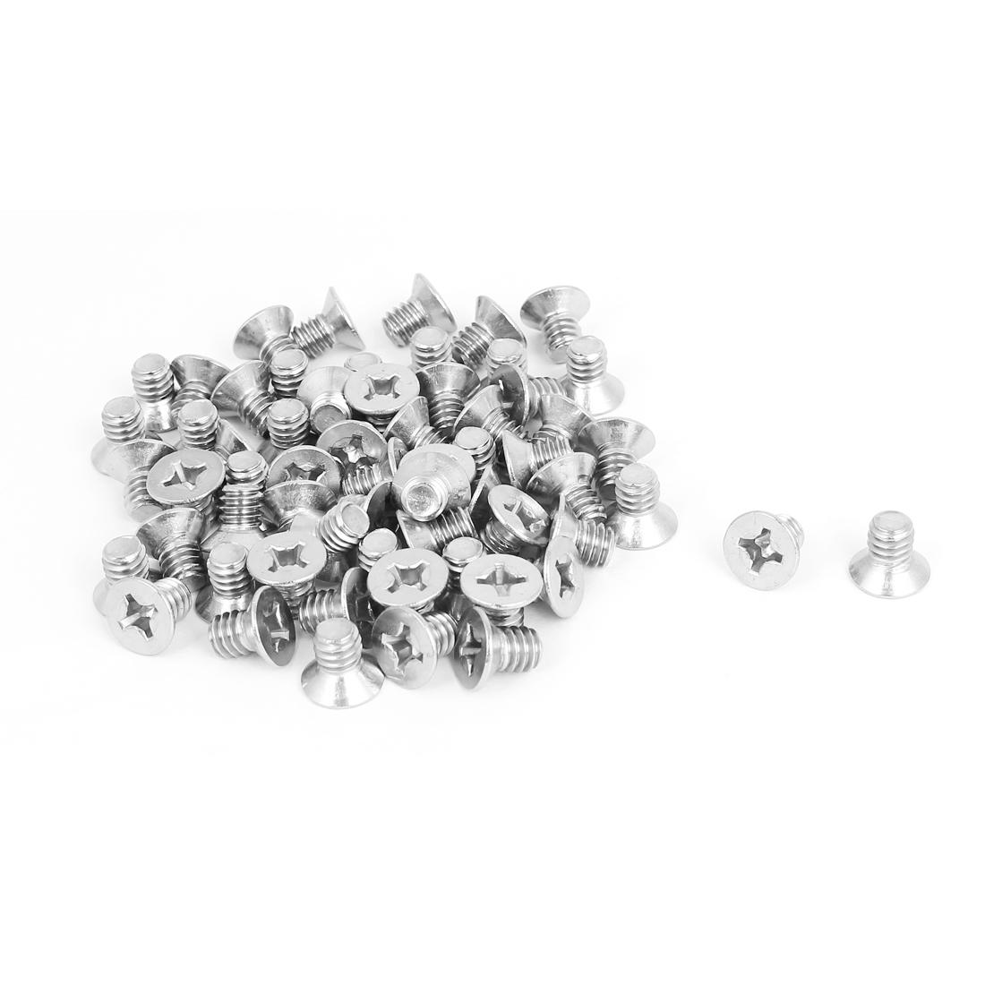 "1/4""-20x3/8"" Stainless Steel Phillips Flat Countersunk Head Screws 50pcs"