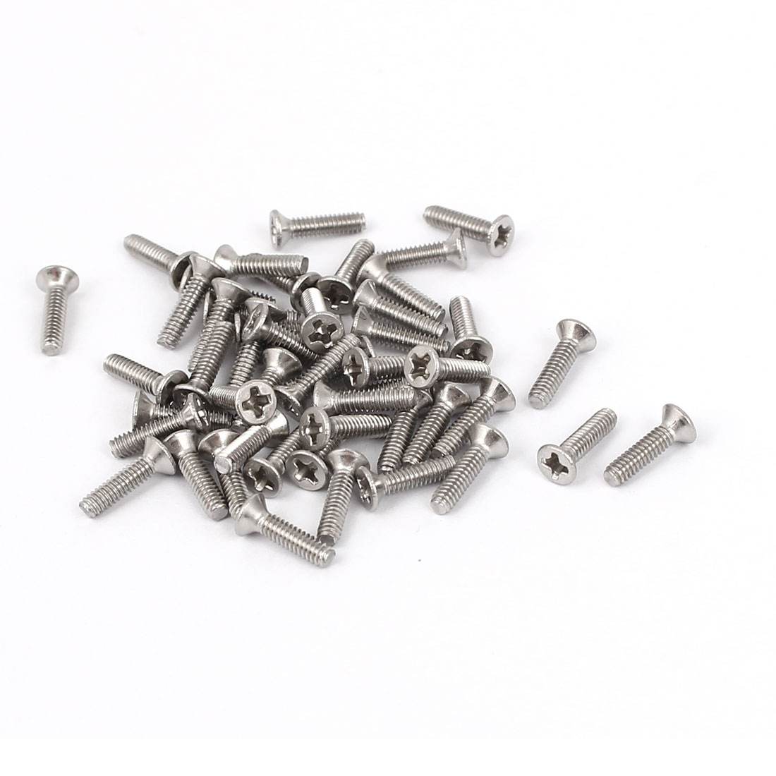 M2x8mm Phillips Flat Countersunk Head Machine Screws Silver Tone 50pcs