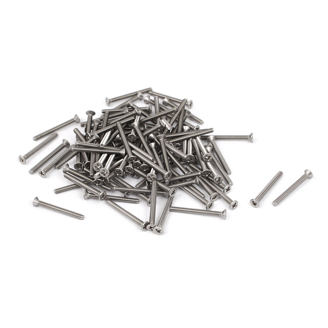 M2x20mm 304 Stainless Steel Phillips Flat Countersunk Head Machine Screws 100pcs