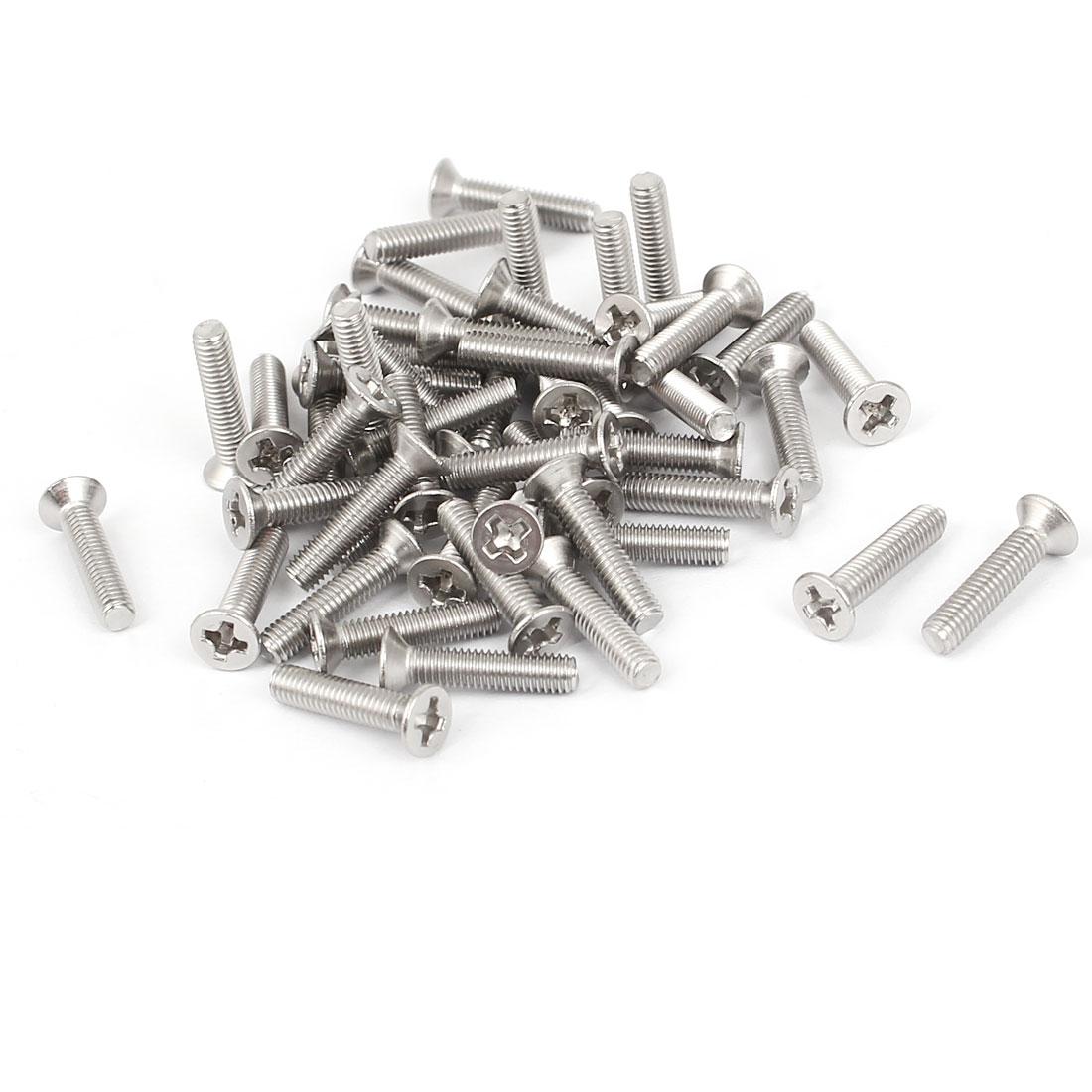 M3x14mm Phillips Flat Countersunk Head Machine Screws Silver Tone 50pcs
