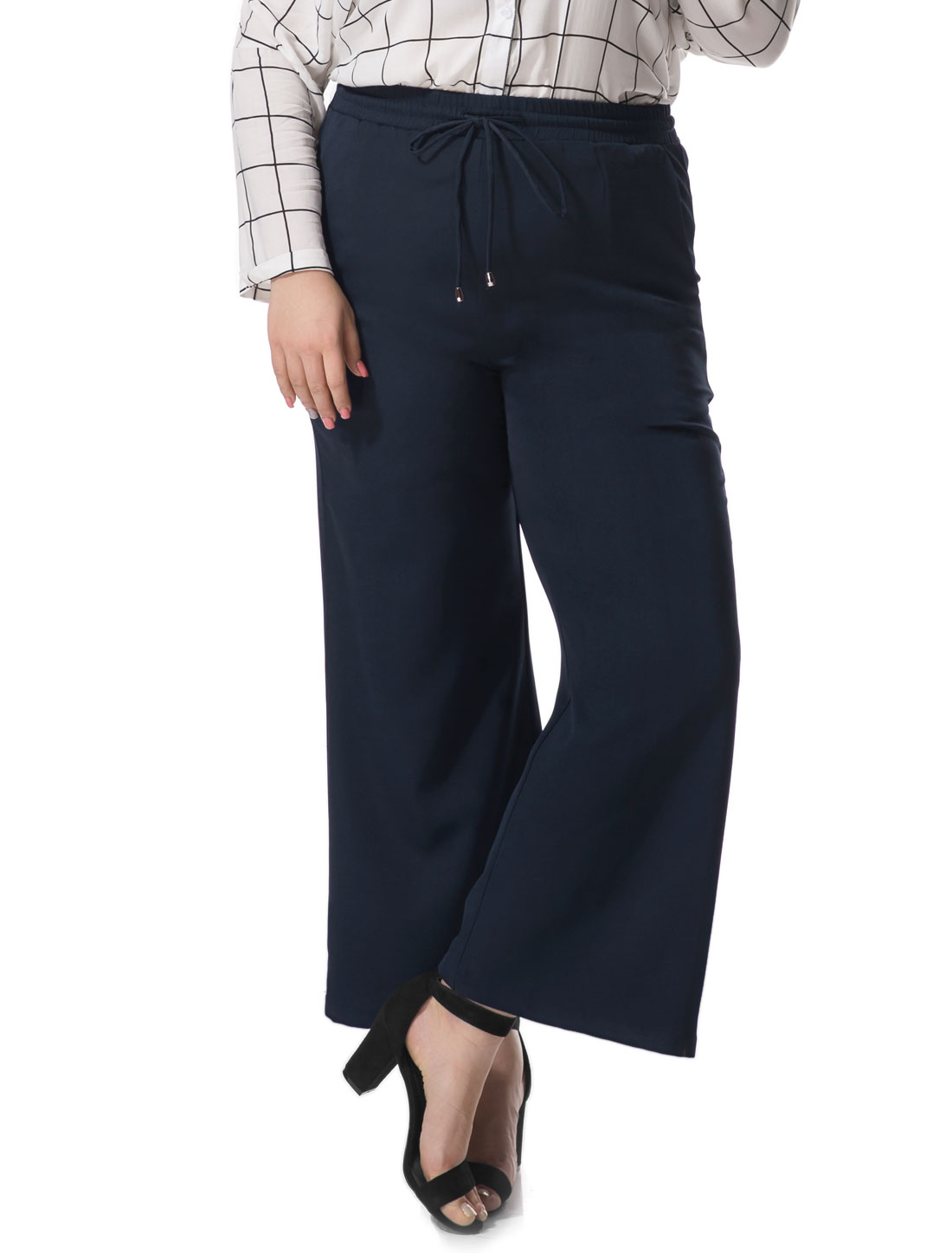 Women Plus Size Wide Leg Elastic Drawstring Pants Blue 1X