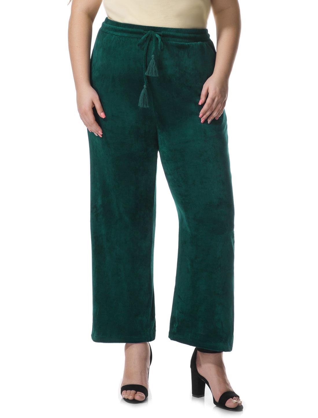 Women Plus Size Velvet Elastic Waist Drawstring Pants Green 2X