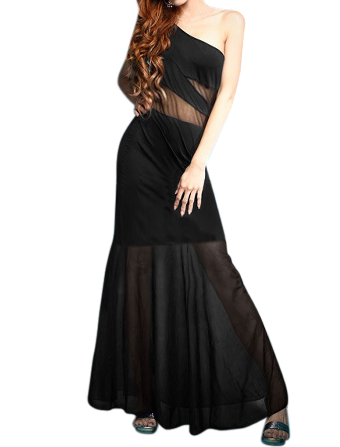 Women Sleeveless One Shoulder Mesh Panel Maxi Dress Black S
