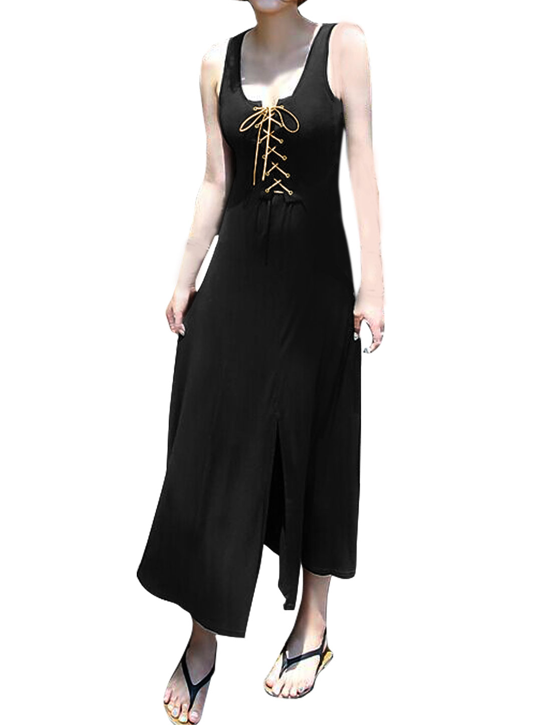 Ladies Lace-Up Split Front Sleeveless Midi Dress Black S