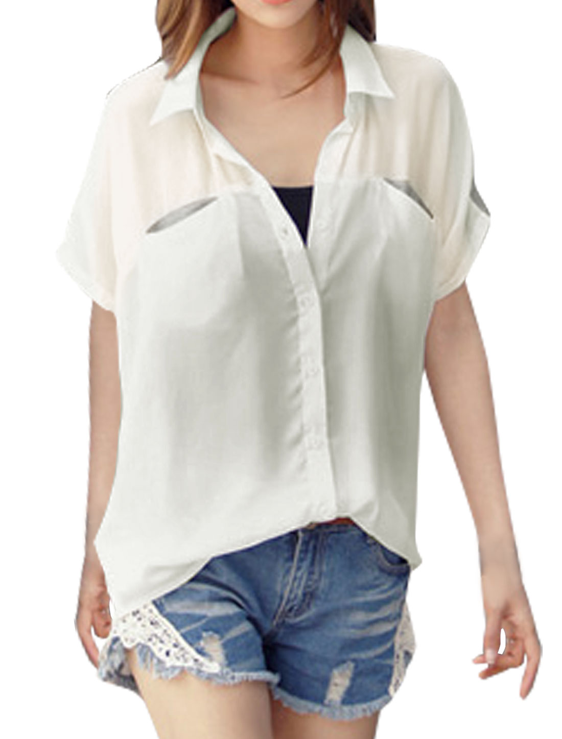 Women Chest Pockets Color Block Loose Paneled Blouse White XS