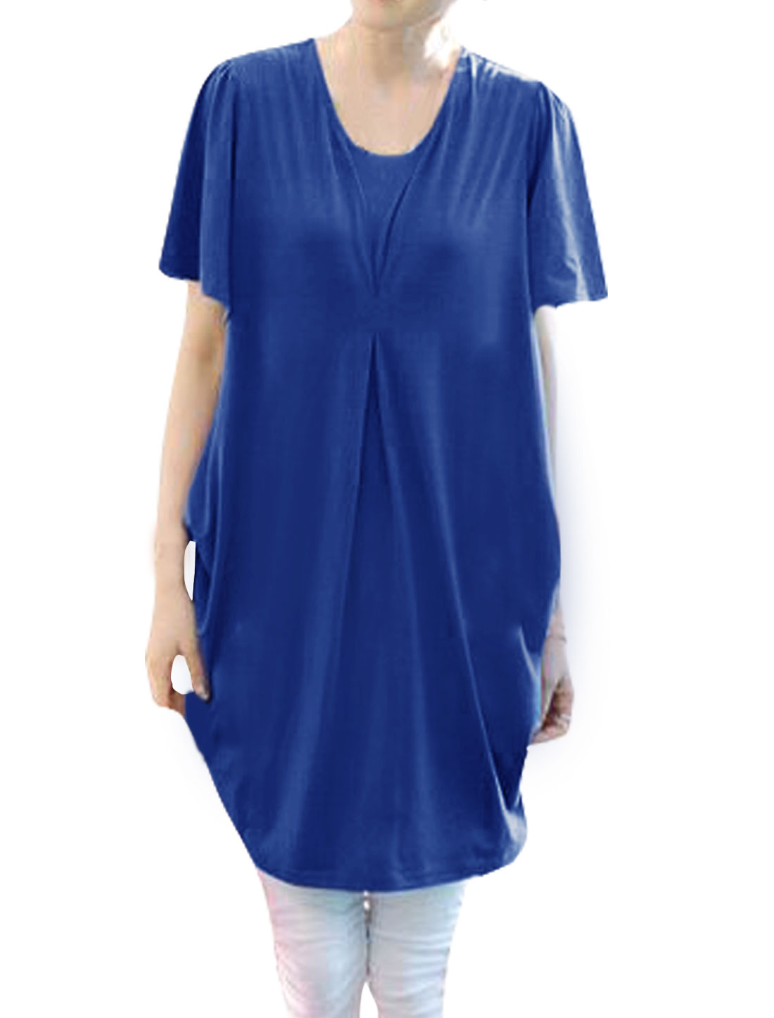 Lady Round Neck Loose Pleated Tunic Dress Blue M