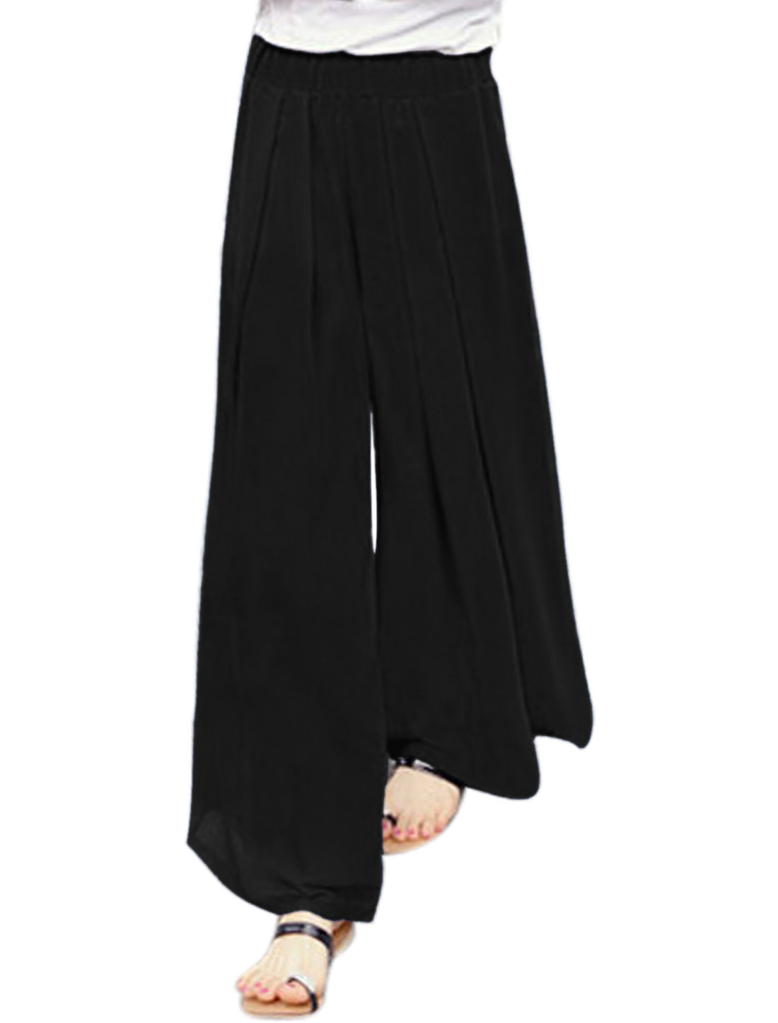 Women Elastic Waist Pleated Wide Leg Pants Black XS