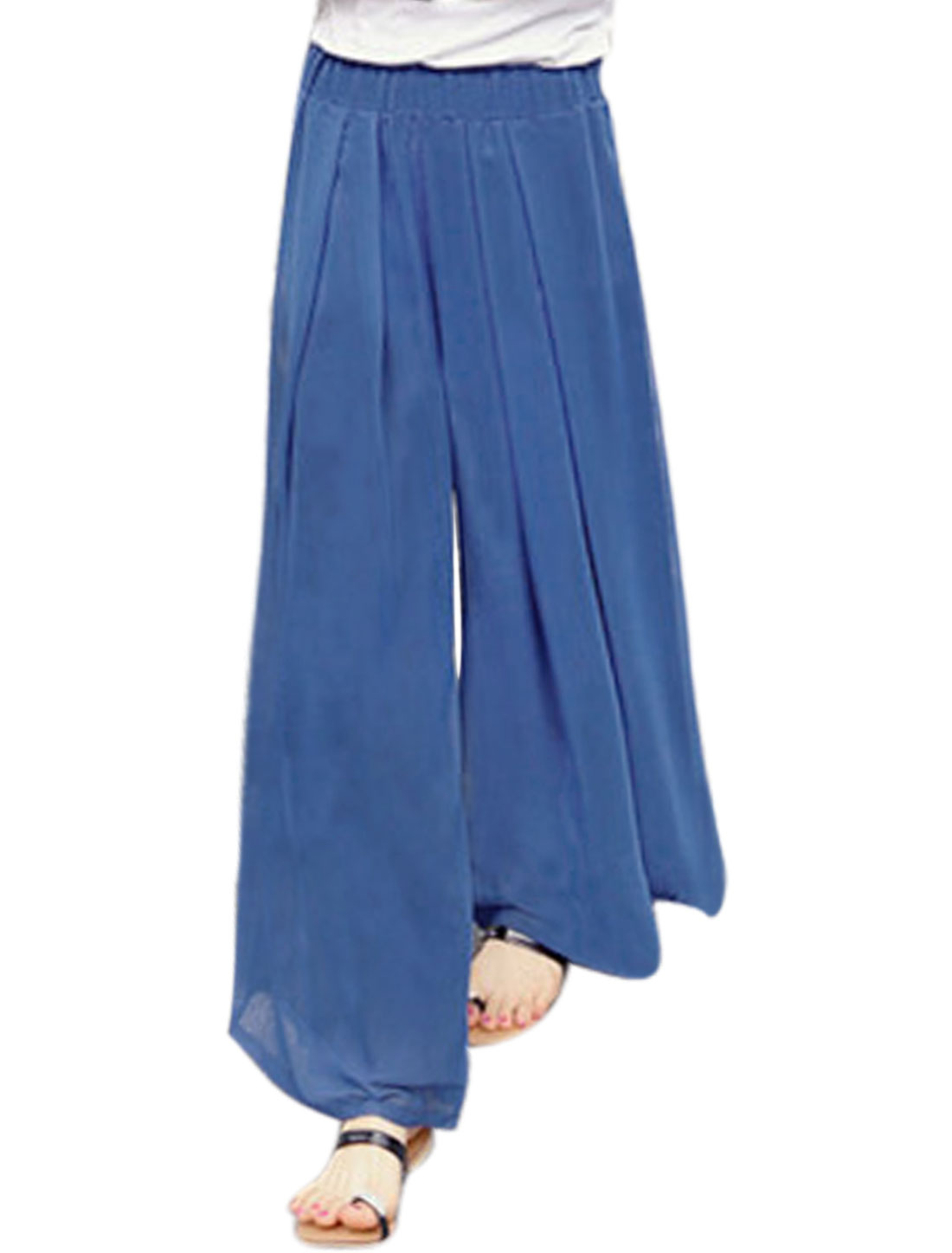 Women Elastic Waist Pleated Wide Leg Pants Blue XS
