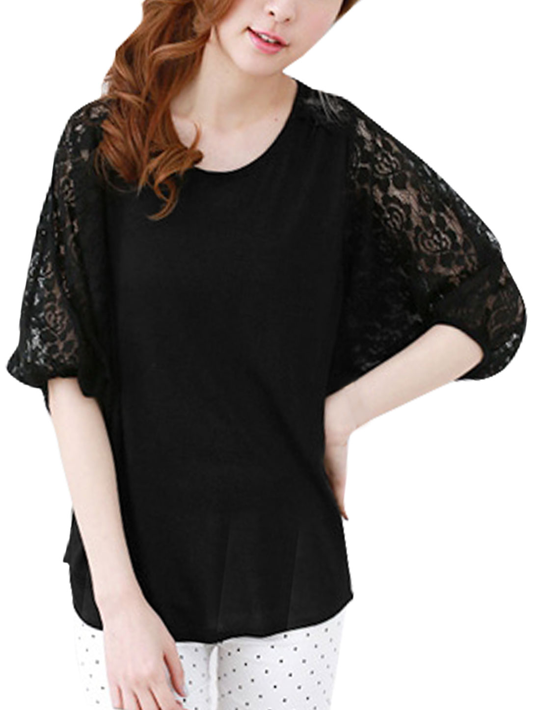 Women Floral Lace 3/4 Sleeves Hi-Lo Blouse Black XS