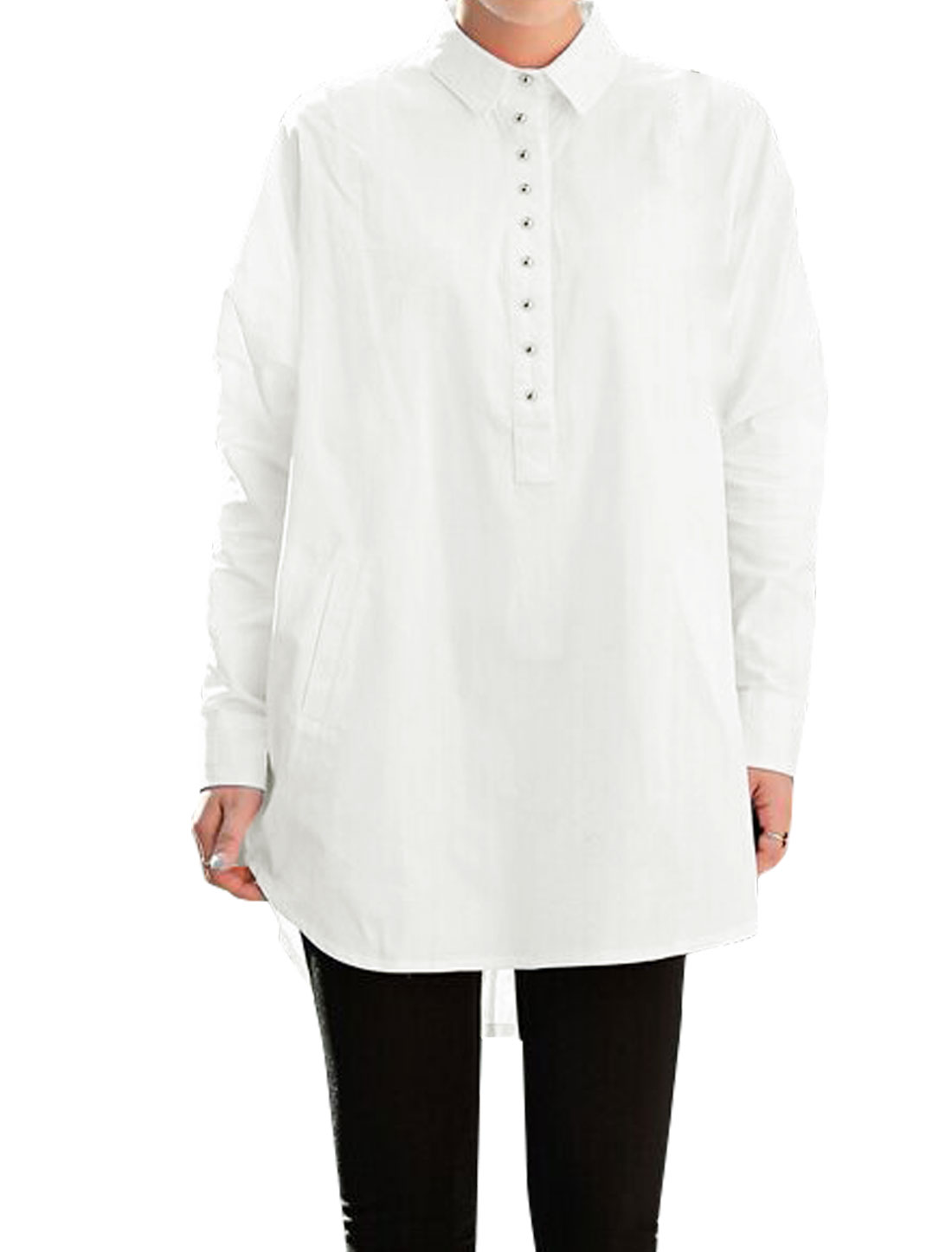 Woman Batwing Button Closed Upper Loose Tunic Shirt White XS