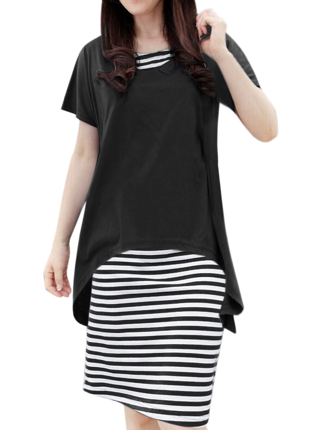 Woman Low High Hem Loose Top w Stripes Midi Dress Sets Black White M