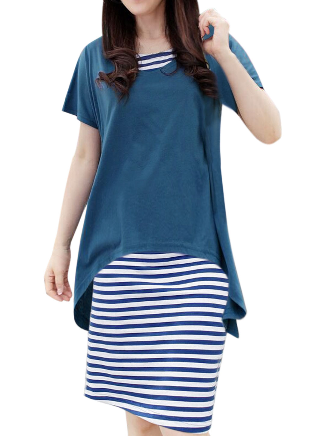 Woman Low High Hem Loose Top w Stripes Midi Dress Sets Blue White M