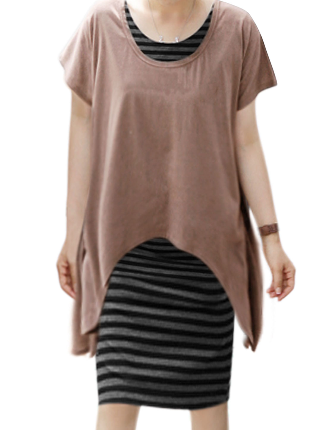 Woman Low High Hem Loose Top w Stripes Midi Dress Sets Brown Gray M