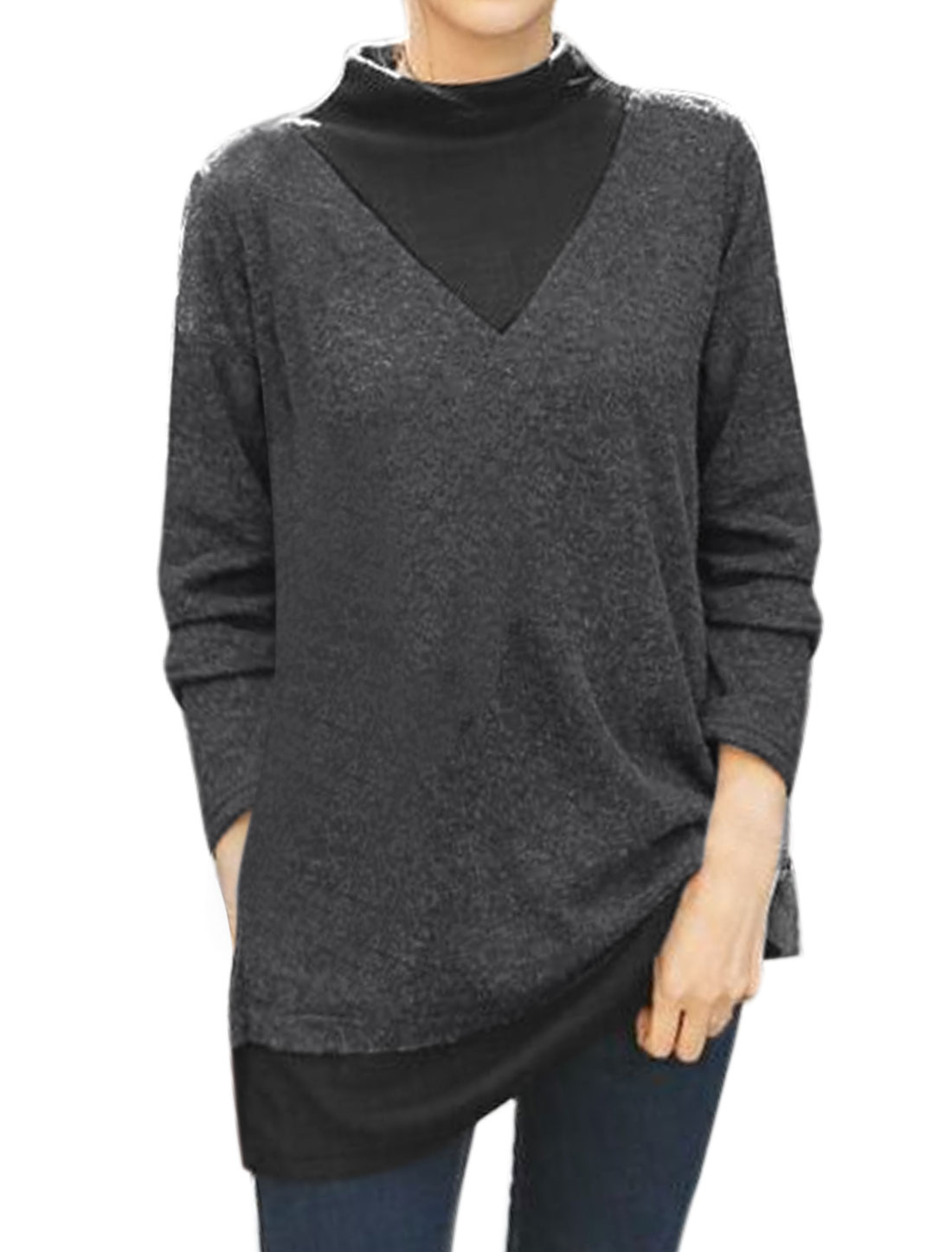 Women Mock Neck Color Block Knit Tunic Top Gray XS