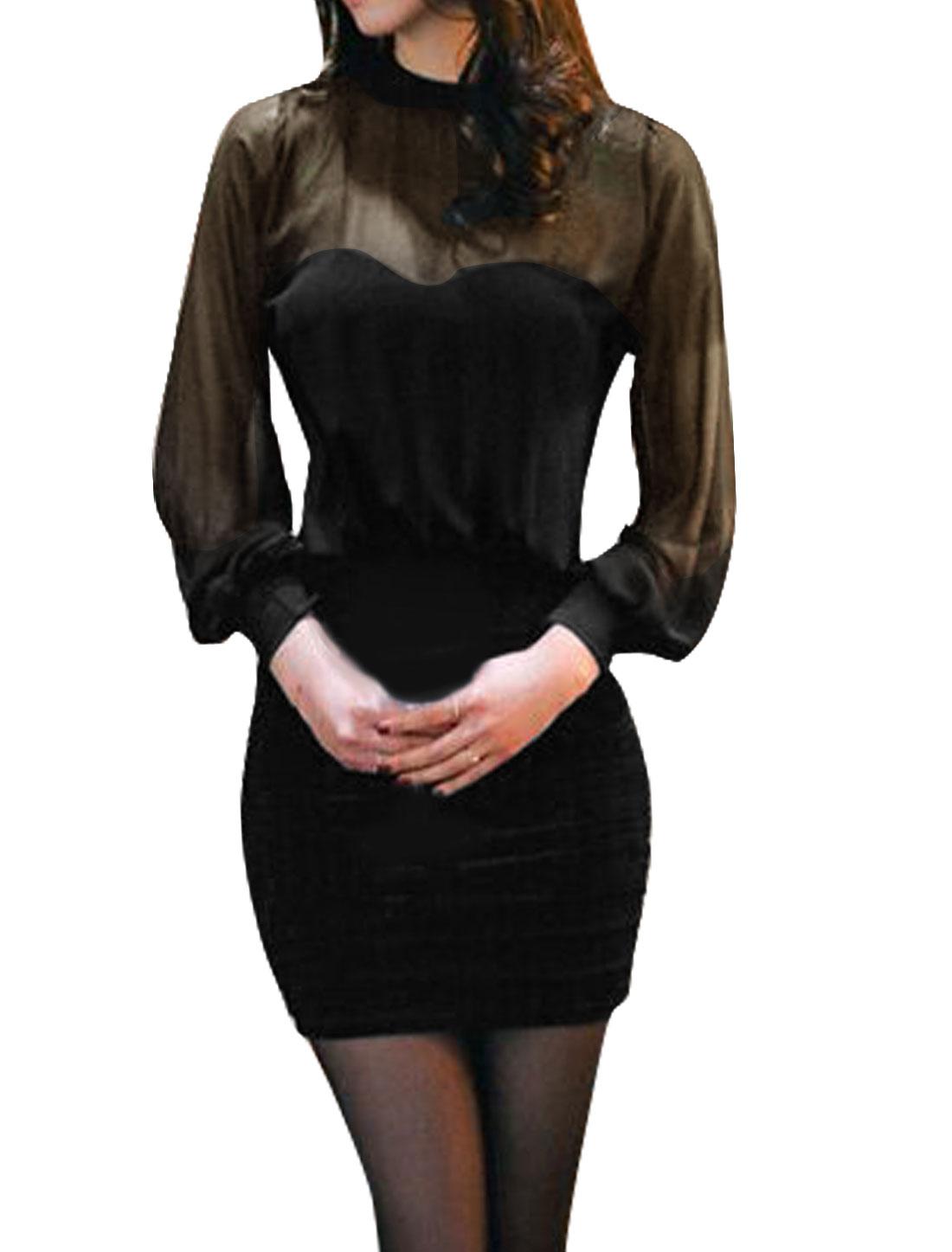 Women Padded Bust Chiffon Ruched Wiggle Dress Black M