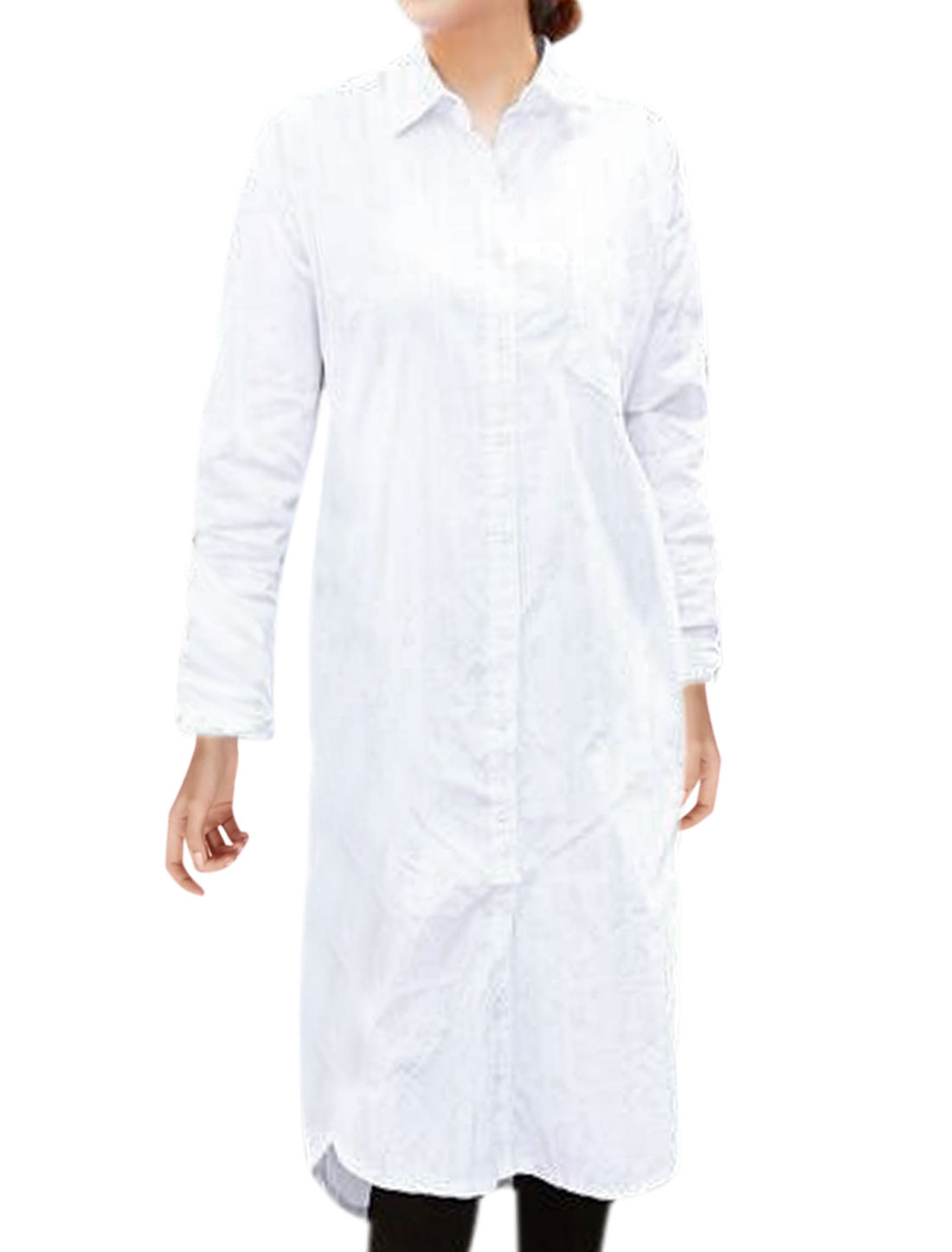 Women Hi-Lo Seam Pockets Tunic Shirt Dress White S
