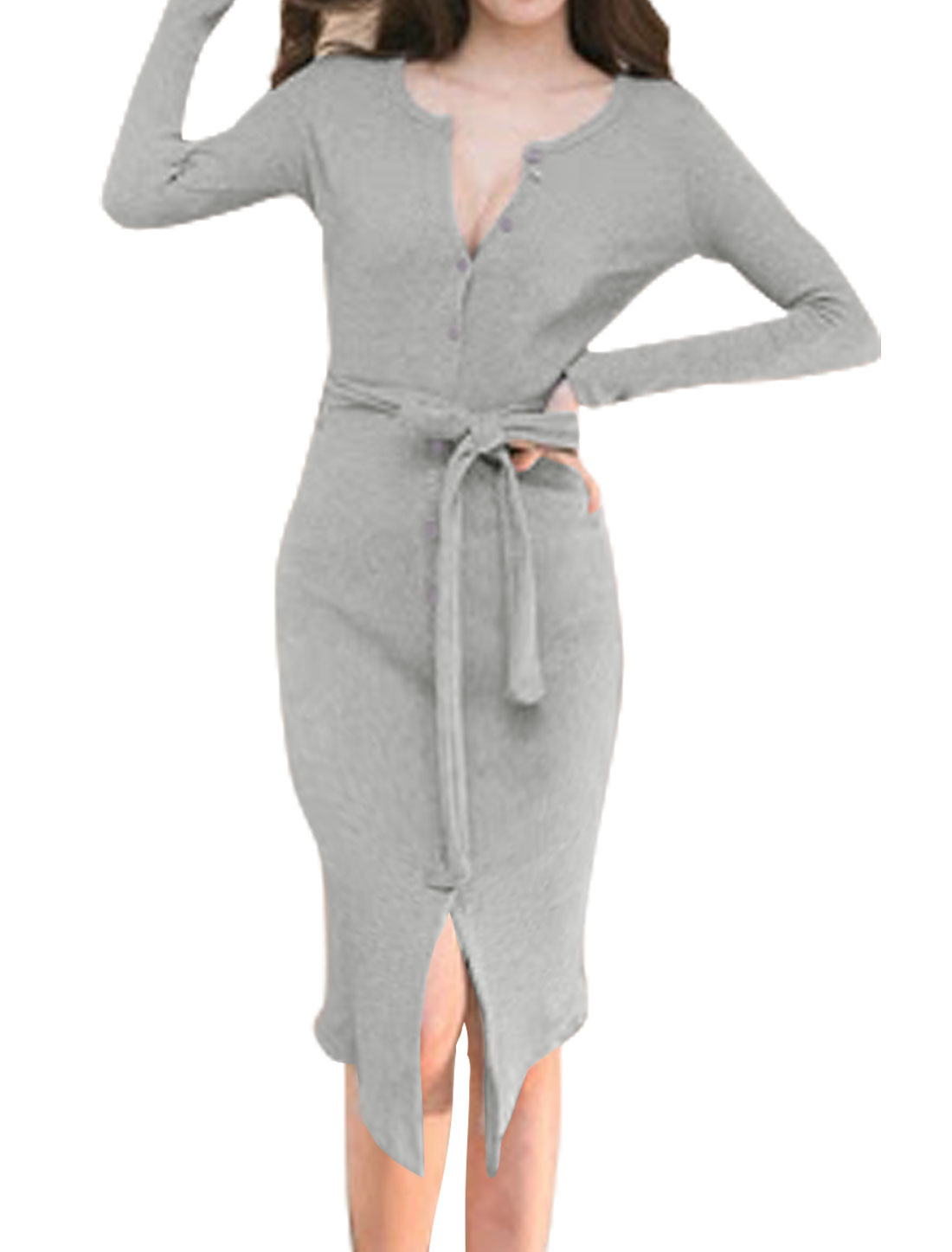 Women Belted Ribbed High Low Hem Split Sheath Dress Gray S