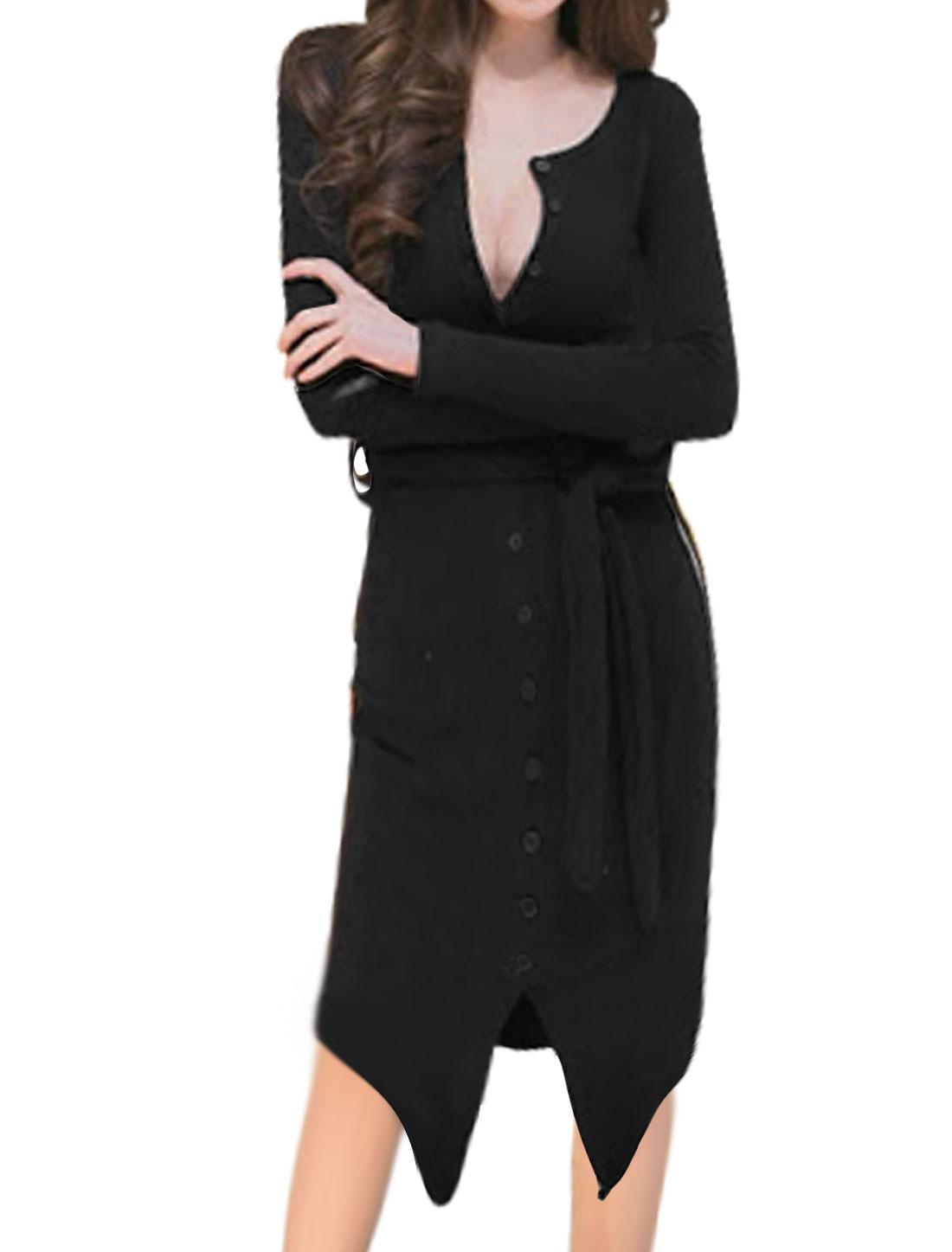 Women Belted Ribbed High Low Hem Split Sheath Dress Black S