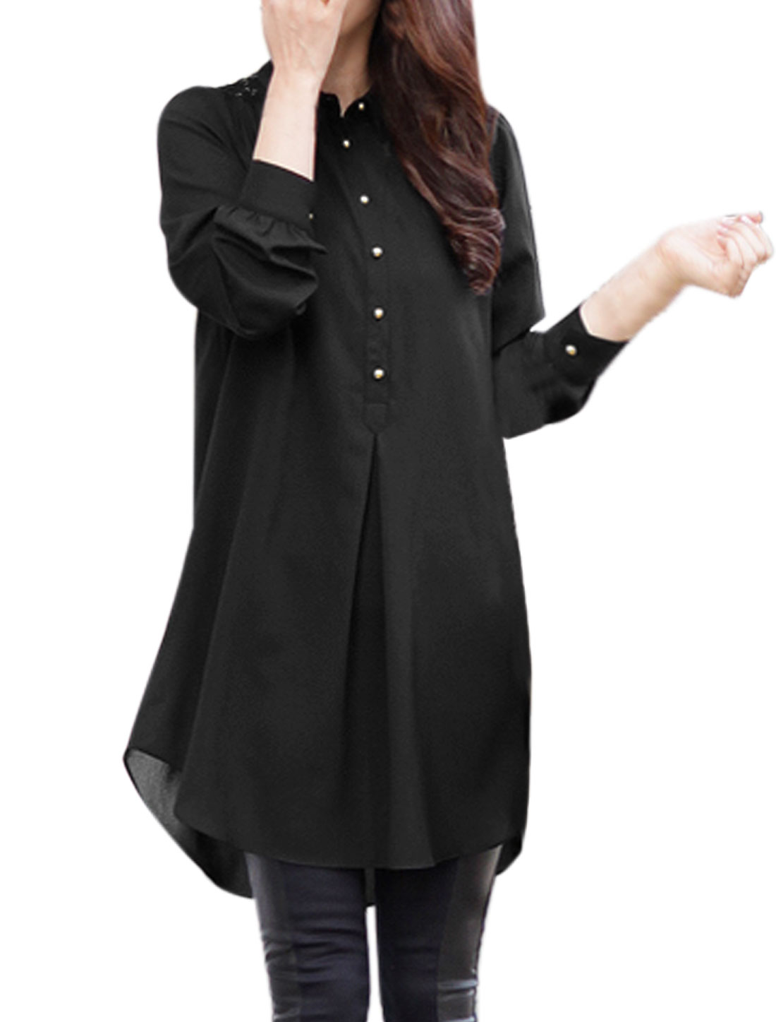 Women Collared Loose Half Button Closed Tunic Top Black M
