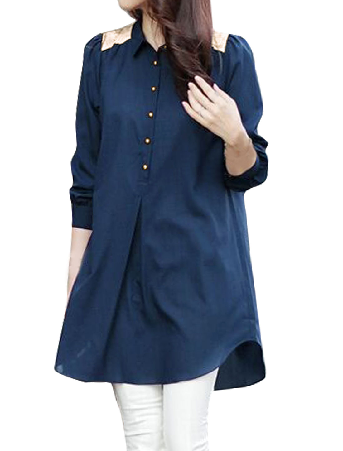Women Collared Loose Half Button Closed Tunic Top Blue M
