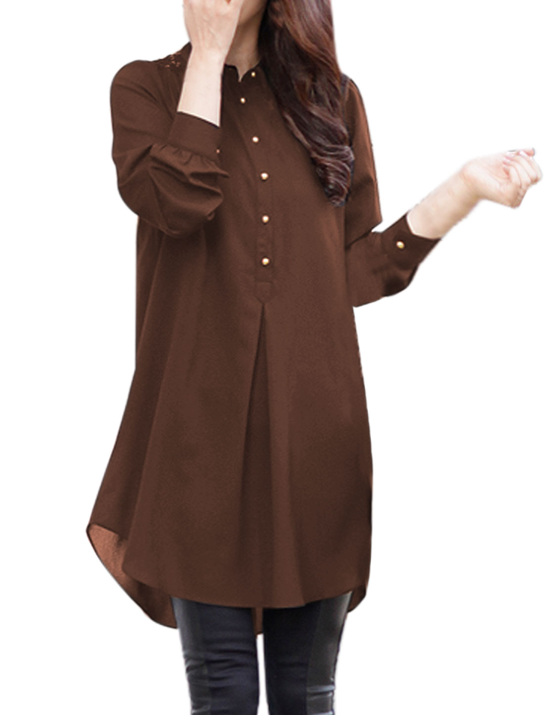 Women Collared Loose Half Button Closed Tunic Top Brown M