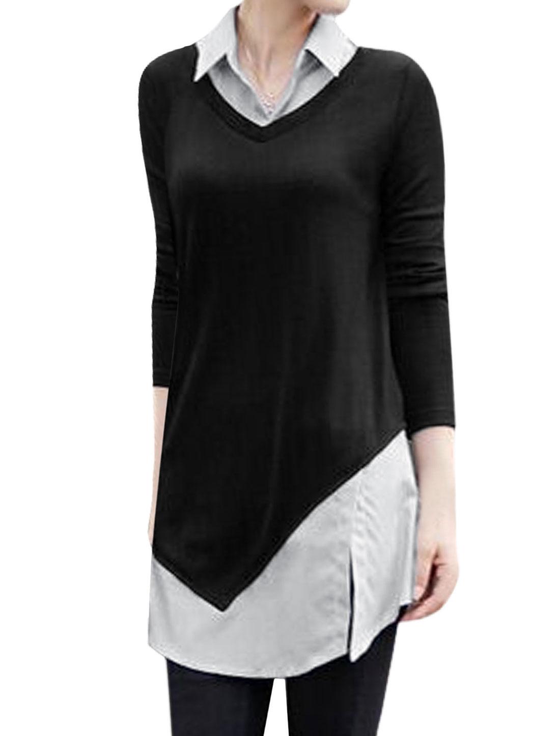 Women Panel Design Shirttail Tunic Top White Black S