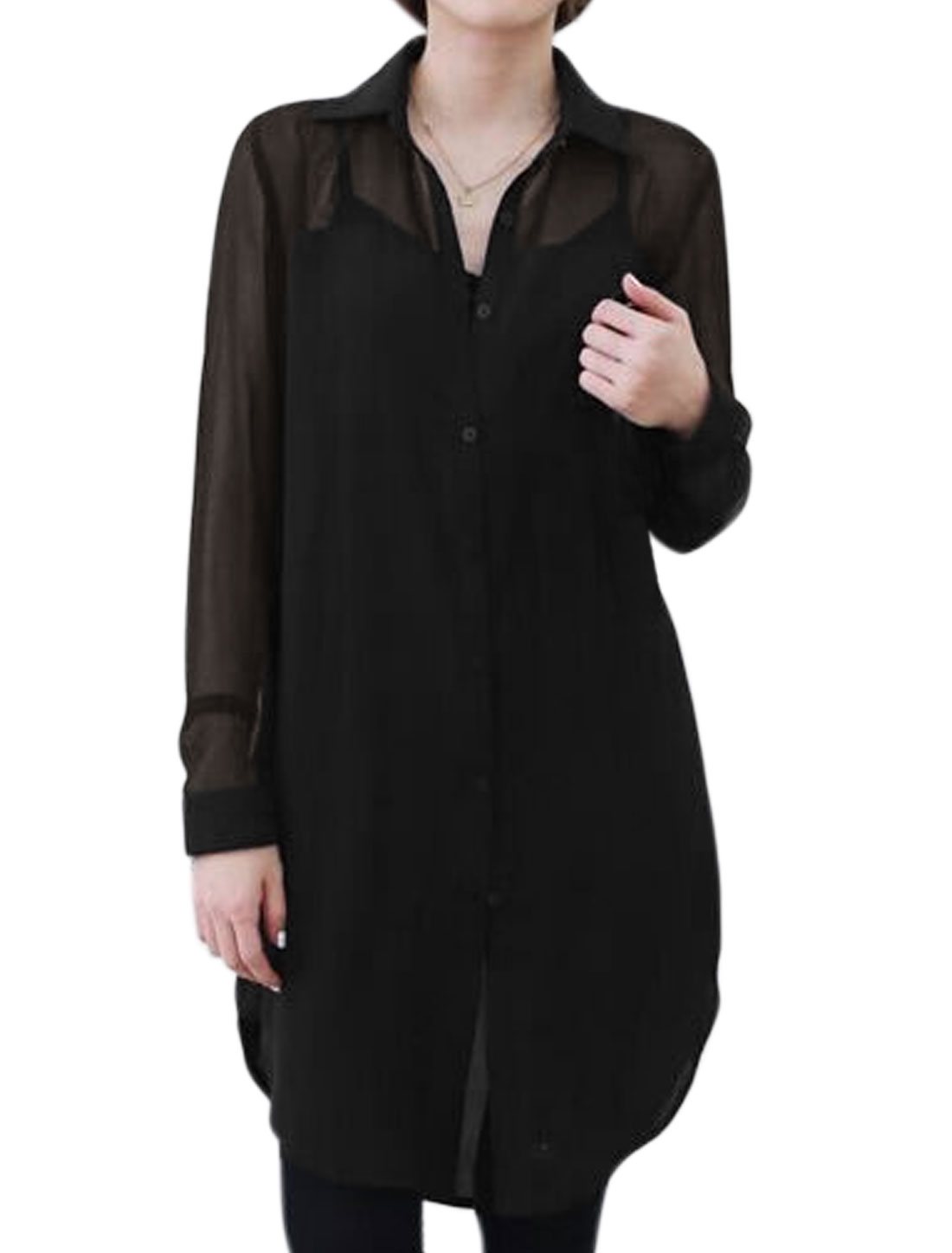 Ladies Collared Long Sleeves Chiffon Tunic Shirt Black M