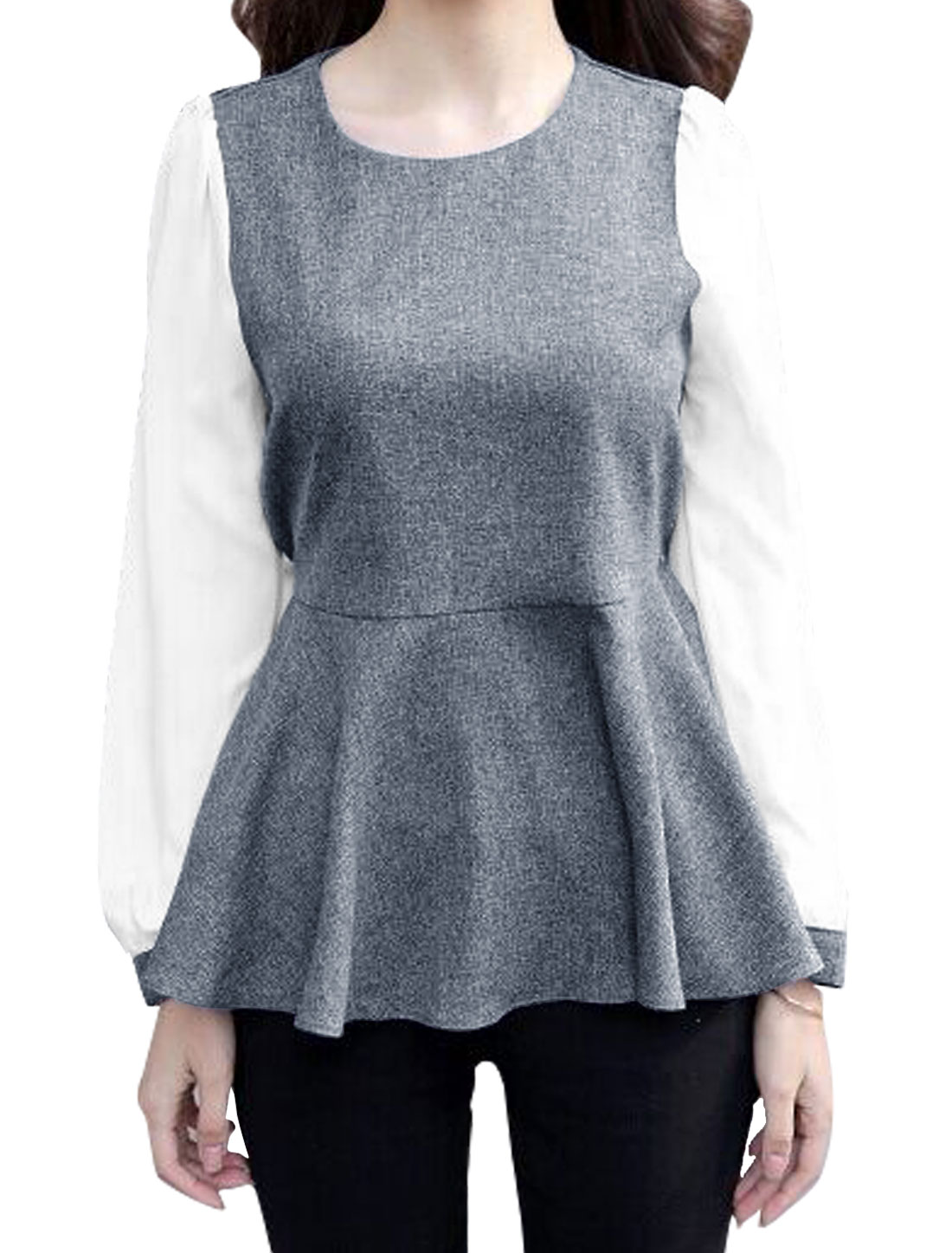 Woman Long Sleeves Elastic Waist Back Chiffon Peplum Top Gray XS