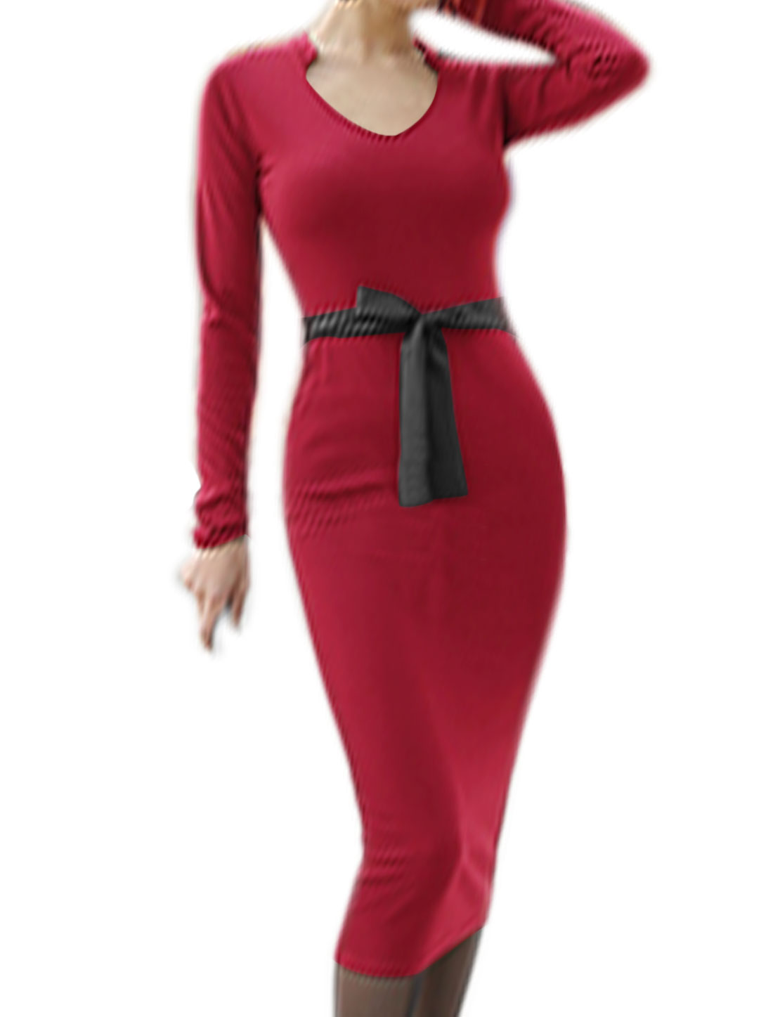 Women Asymmetric Neck Split Back PU Belted Wiggle Dress Red M