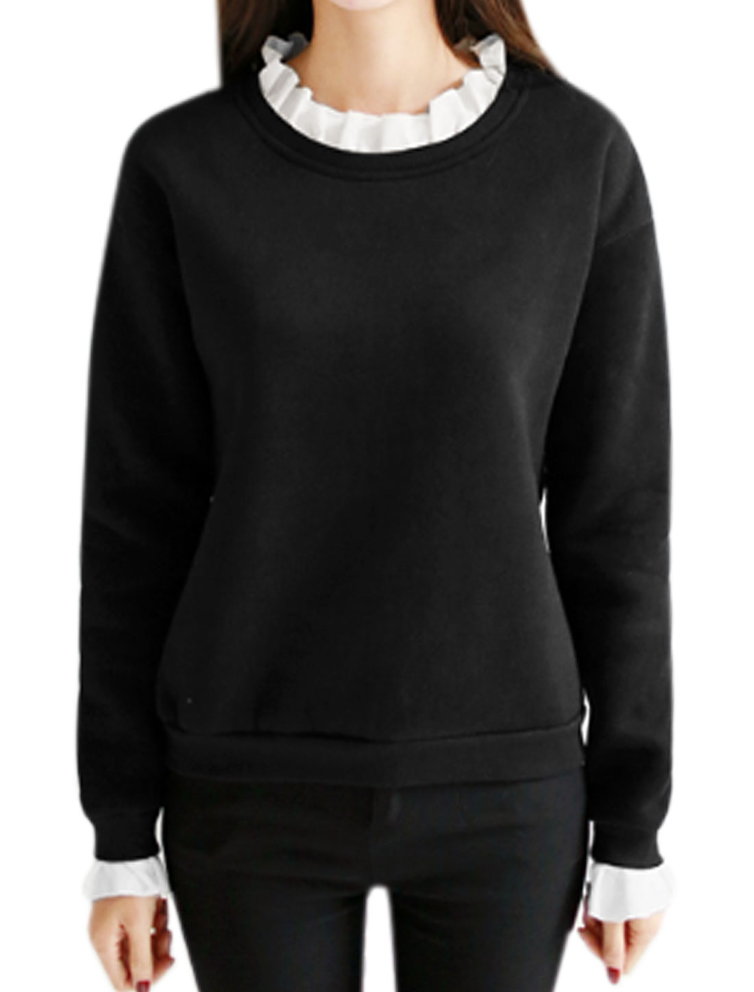 Women Ruffled Collar Soft Lined Paneled Sweatshirt Black XS