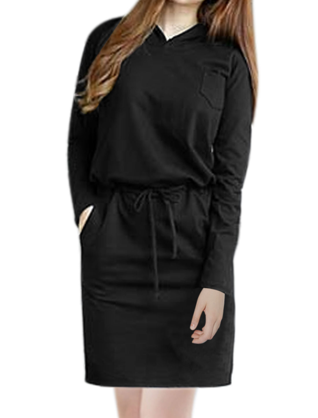 Women Drawstring Waist Slant Pockets Hooded Dress Black S