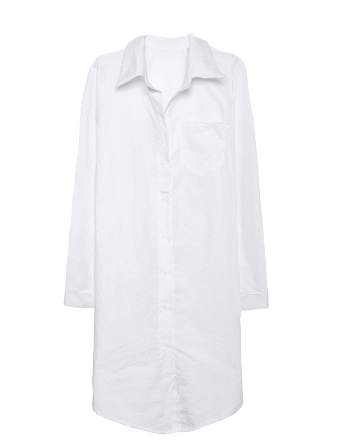Ladies Point Collar One Pocket Loose Tunic Shirt White XS