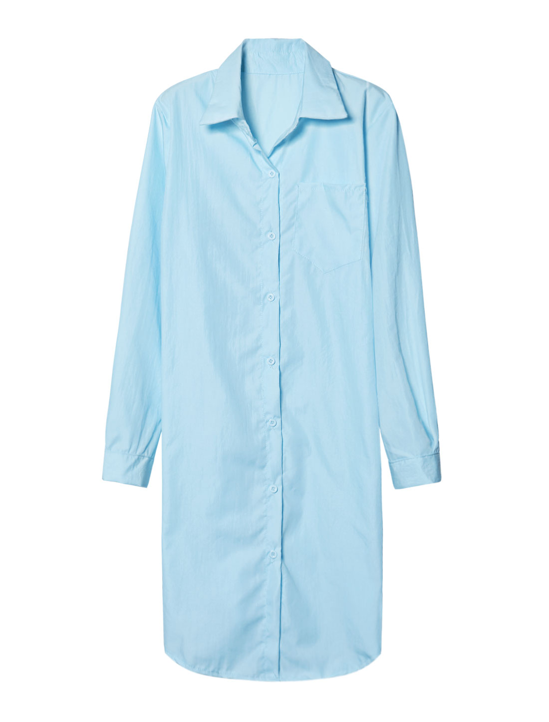 Ladies Point Collar One Pocket Loose Tunic Shirt Blue XS