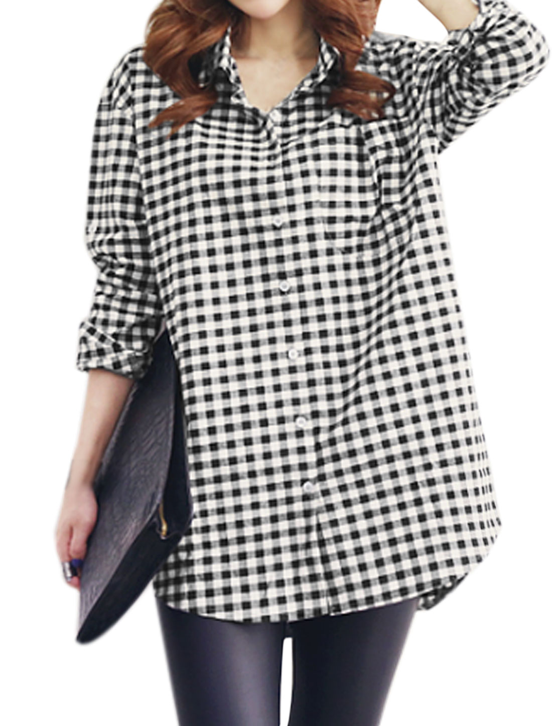 Women Rolled Up Sleeves Plaids Loose Tunic Shirt Black Beige S
