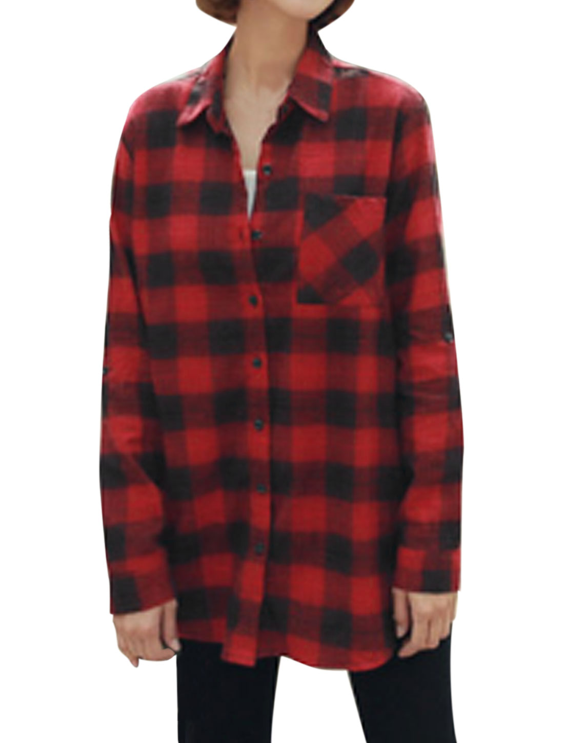 Women Rolled Up Sleeves Plaids Loose Tunic Shirt Red XS