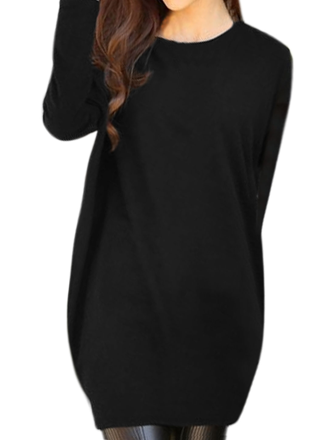 Woman Round Neck Dolman Sleeves Loose Tunic Dress Black XS