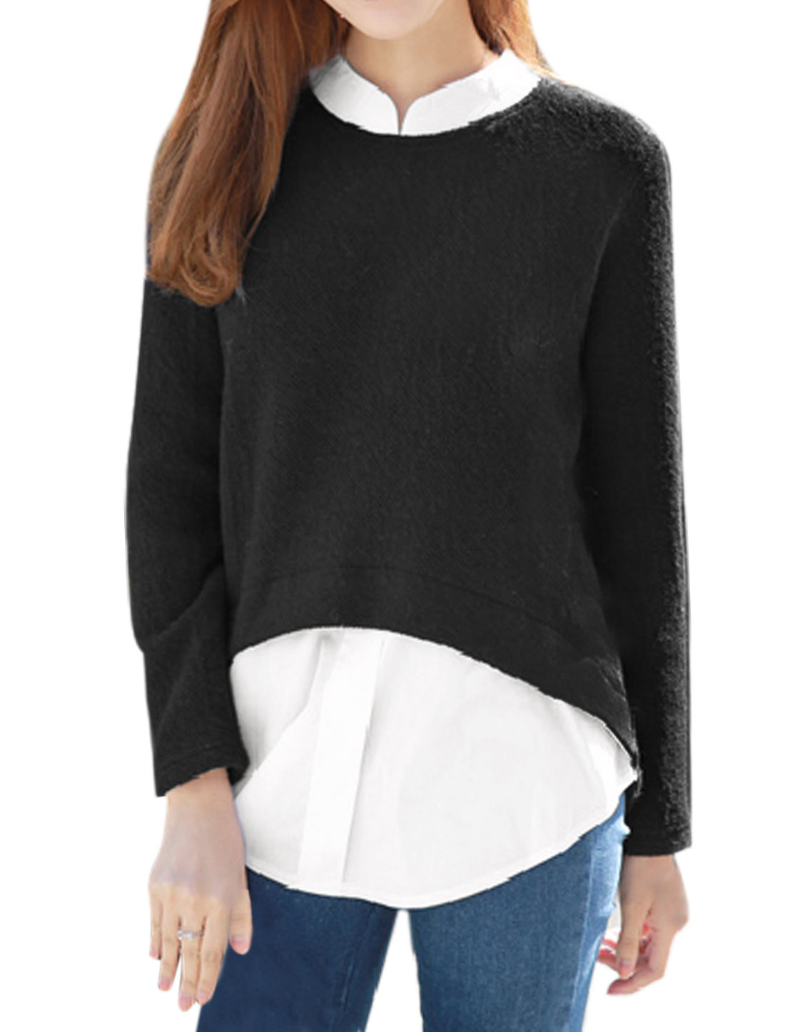 Woman Collared Long Sleeves Color Block Layered Top Black XS