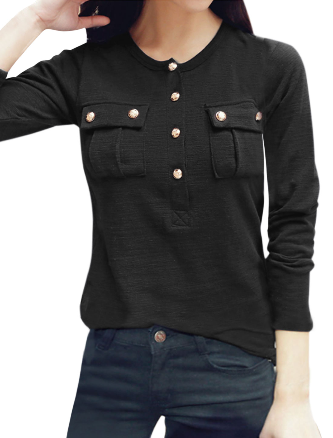 Woman Round Neck Long Sleeves Half Placket Top w Pockets Black XS