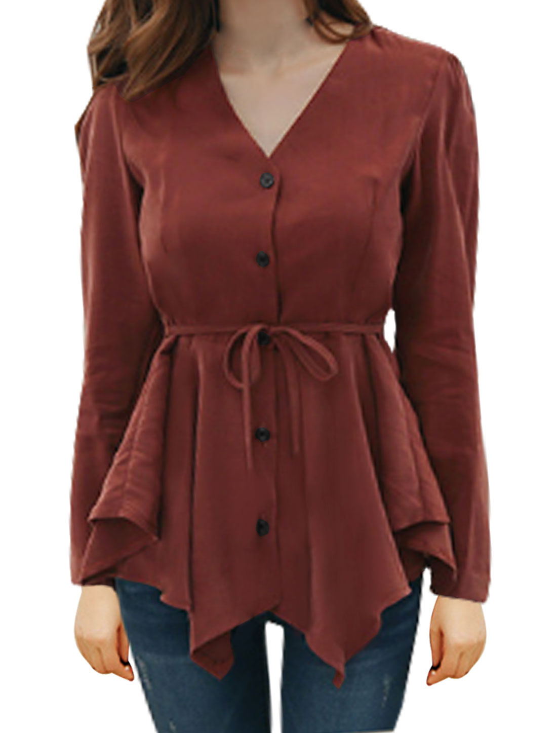 Ladies Asymmetric Hem Peplum Blouse w Waist String Red XS