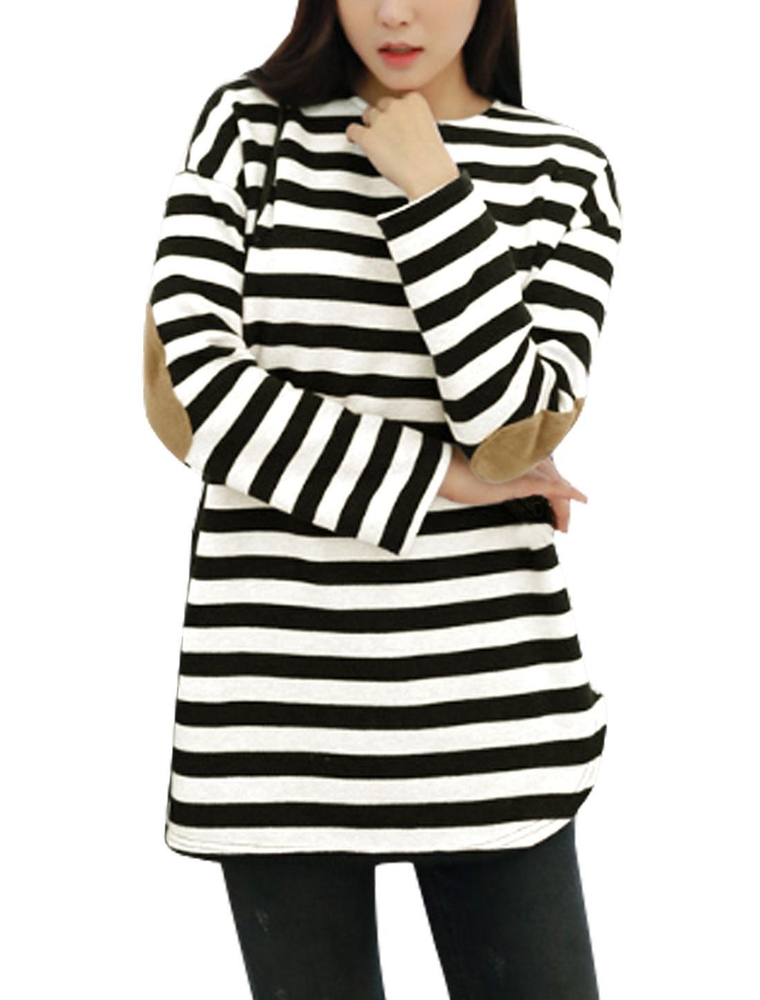 Women Crew Neck Long Sleeves Elbow Patch Tunic Striped Top Black White XS
