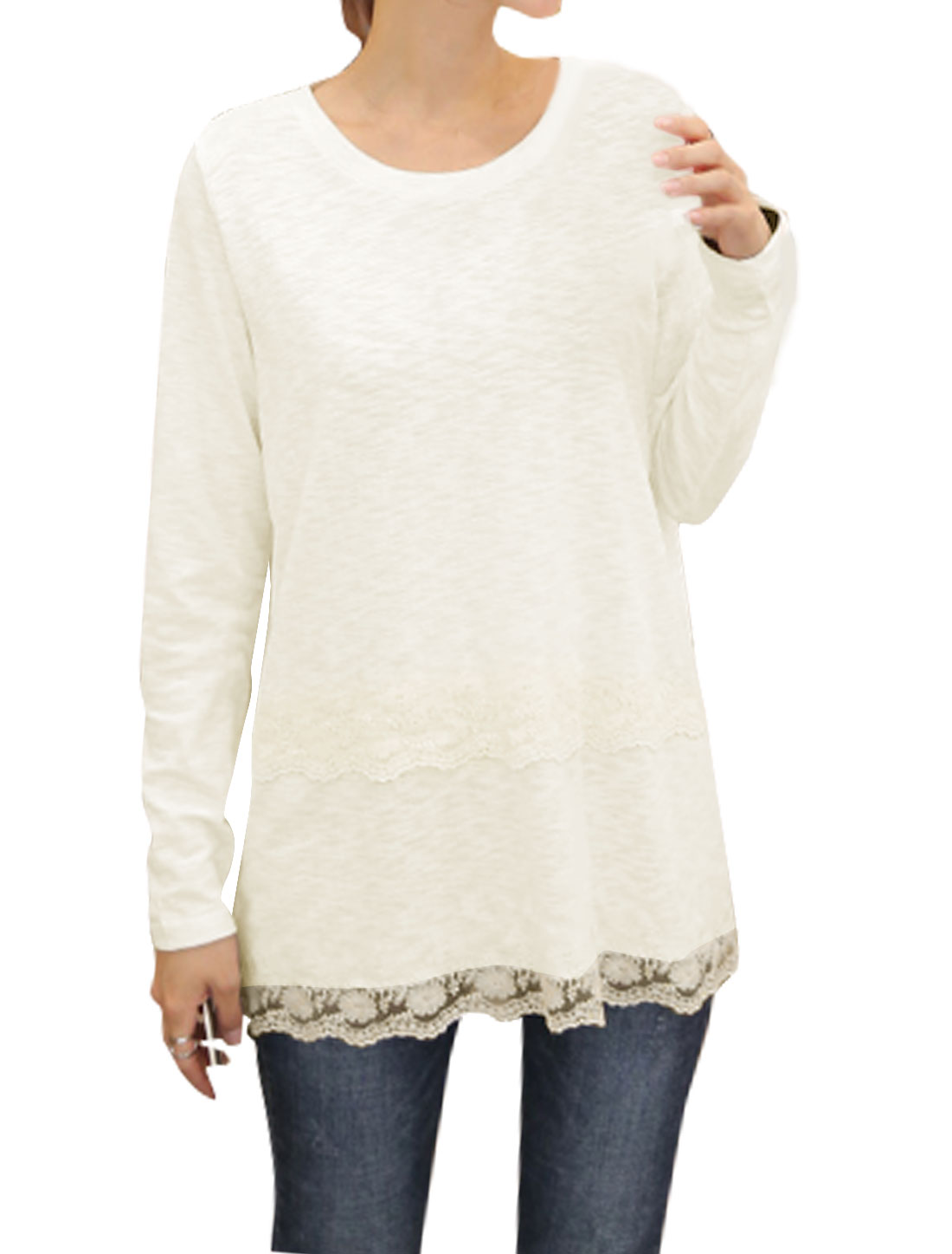 Women Round Neck Long Sleeves Crochet Layered Tunic Top White XS