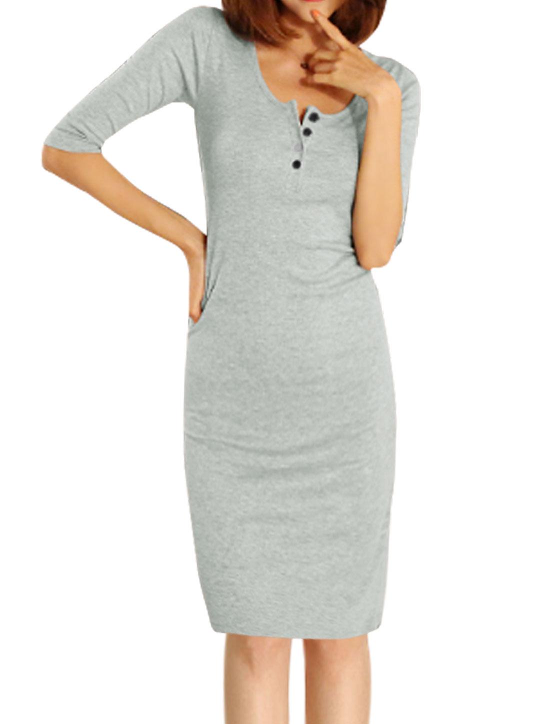 Women Half Button Closure 1/2 Sleeves Sheath Dress Light Gray S