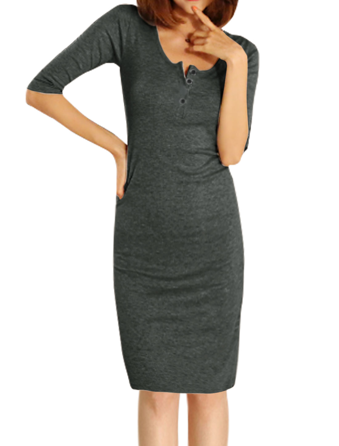 Women Half Button Closure 1/2 Sleeves Sheath Dress Dark Gray S